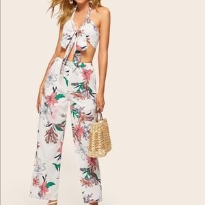 Botanical Print Knot Front Halter Co-Ord Set